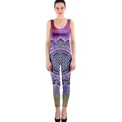 Flower Of Life Indian Ornaments Mandala Universe Onepiece Catsuit by EDDArt