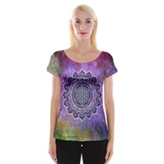 Flower Of Life Indian Ornaments Mandala Universe Women s Cap Sleeve Top by EDDArt