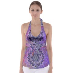 Flower Of Life Indian Ornaments Mandala Universe Babydoll Tankini Top by EDDArt