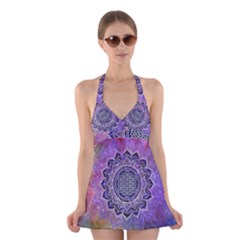 Flower Of Life Indian Ornaments Mandala Universe Halter Swimsuit Dress by EDDArt