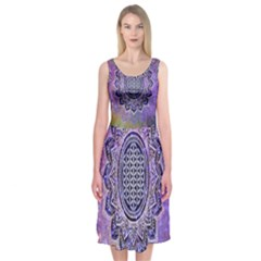 Flower Of Life Indian Ornaments Mandala Universe Midi Sleeveless Dress