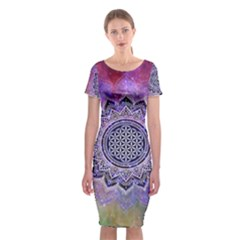 Flower Of Life Indian Ornaments Mandala Universe Classic Short Sleeve Midi Dress by EDDArt