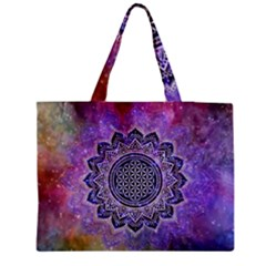 Flower Of Life Indian Ornaments Mandala Universe Medium Tote Bag by EDDArt