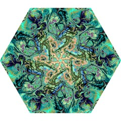Fractal Batik Art Teal Turquoise Salmon Mini Folding Umbrellas