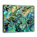 Fractal Batik Art Teal Turquoise Salmon Deluxe Canvas 24  x 20   View1