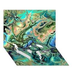 Fractal Batik Art Teal Turquoise Salmon Love Bottom 3d Greeting Card (7x5) by EDDArt