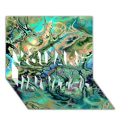 Fractal Batik Art Teal Turquoise Salmon You Are Invited 3d Greeting Card (7x5) by EDDArt