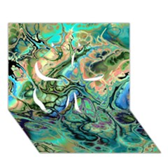 Fractal Batik Art Teal Turquoise Salmon Clover 3d Greeting Card (7x5) by EDDArt