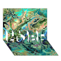 Fractal Batik Art Teal Turquoise Salmon Hope 3d Greeting Card (7x5) by EDDArt
