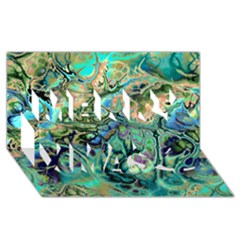 Fractal Batik Art Teal Turquoise Salmon Merry Xmas 3d Greeting Card (8x4) by EDDArt