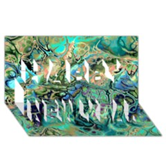 Fractal Batik Art Teal Turquoise Salmon Happy New Year 3d Greeting Card (8x4) by EDDArt