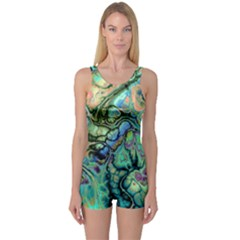 Fractal Batik Art Teal Turquoise Salmon One Piece Boyleg Swimsuit