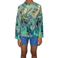 Fractal Batik Art Teal Turquoise Salmon Kids  Long Sleeve Swimwear