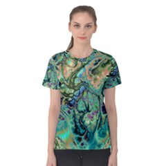 Fractal Batik Art Teal Turquoise Salmon Women s Cotton Tee