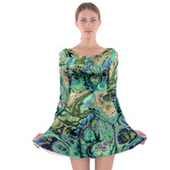 Fractal Batik Art Teal Turquoise Salmon Long Sleeve Skater Dress