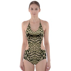 Brown Reptile Cut Out One Piece Swimsuit