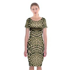 Brown Reptile Classic Short Sleeve Midi Dress by LetsDanceHaveFun