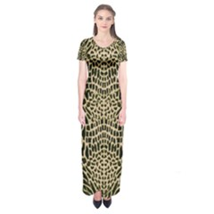 Brown Reptile Short Sleeve Maxi Dress by LetsDanceHaveFun