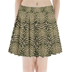 Brown Reptile Pleated Mini Skirt by LetsDanceHaveFun