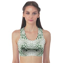 Green Snake Texture Sports Bra by LetsDanceHaveFun