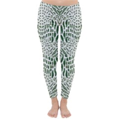Green Snake Texture Winter Leggings