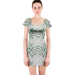 Green Snake Texture Short Sleeve Bodycon Dress