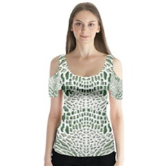 Green Snake Texture Butterfly Sleeve Cutout Tee  by LetsDanceHaveFun