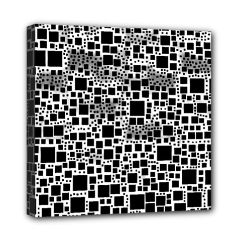 Block On Block, B&w Mini Canvas 8  X 8  by MoreColorsinLife