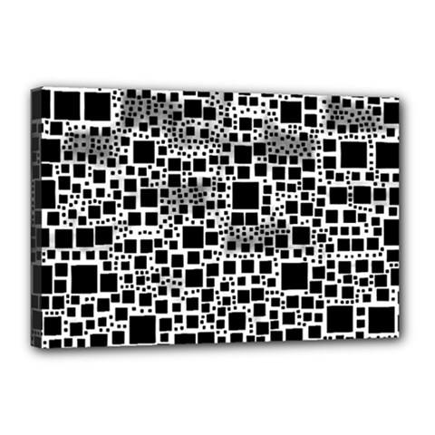 Block On Block, B&w Canvas 18  X 12  by MoreColorsinLife