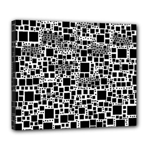Block On Block, B&w Deluxe Canvas 24  X 20   by MoreColorsinLife