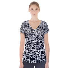 Block On Block, B&w Short Sleeve Front Detail Top