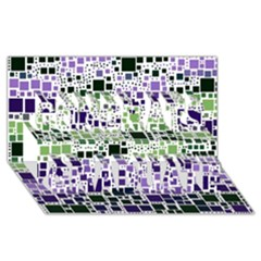 Block On Block, Purple Congrats Graduate 3d Greeting Card (8x4) by MoreColorsinLife