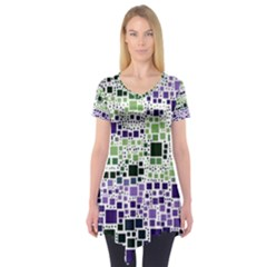 Block On Block, Purple Short Sleeve Tunic  by MoreColorsinLife