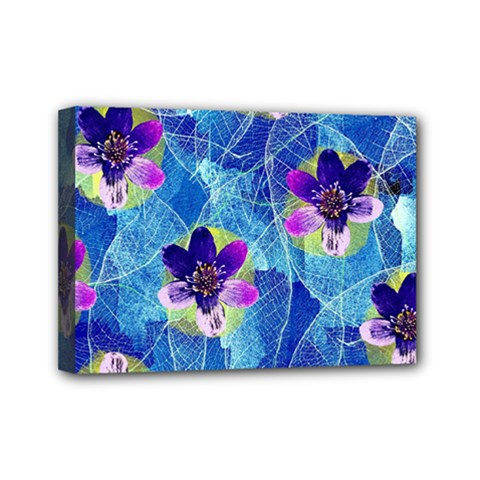 Purple Flowers Mini Canvas 7  x 5