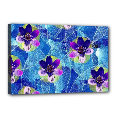 Purple Flowers Canvas 18  x 12