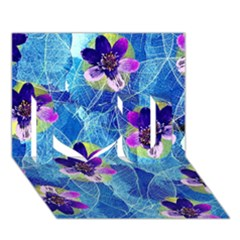 Purple Flowers I Love You 3d Greeting Card (7x5) by DanaeStudio