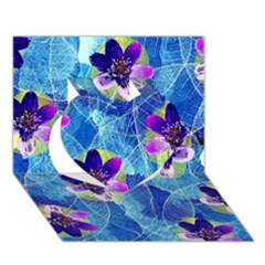 Purple Flowers Heart 3D Greeting Card (7x5)