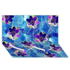 Purple Flowers Twin Heart Bottom 3D Greeting Card (8x4)