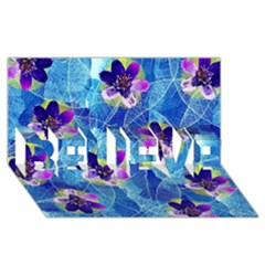 Purple Flowers BELIEVE 3D Greeting Card (8x4)