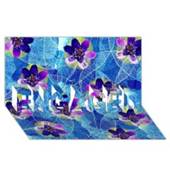Purple Flowers ENGAGED 3D Greeting Card (8x4)