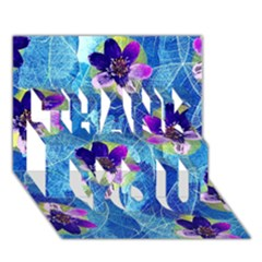 Purple Flowers Thank You 3d Greeting Card (7x5) by DanaeStudio