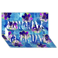 Purple Flowers Congrats Graduate 3D Greeting Card (8x4)