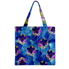 Purple Flowers Grocery Tote Bag