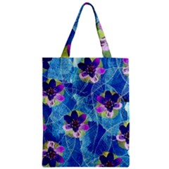 Purple Flowers Zipper Classic Tote Bag by DanaeStudio