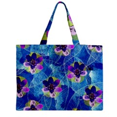 Purple Flowers Medium Zipper Tote Bag