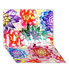 Colorful Succulents HOPE 3D Greeting Card (7x5)