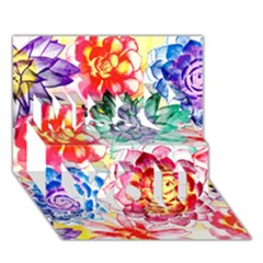 Colorful Succulents Miss You 3D Greeting Card (7x5)