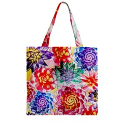 Colorful Succulents Zipper Grocery Tote Bag by DanaeStudio