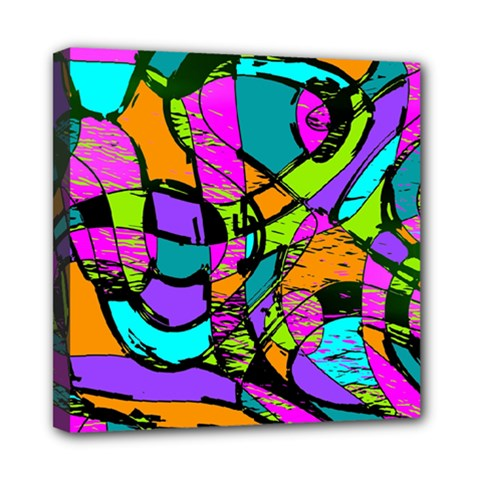 Abstract Sketch Art Squiggly Loops Multicolored Mini Canvas 8  X 8  by EDDArt