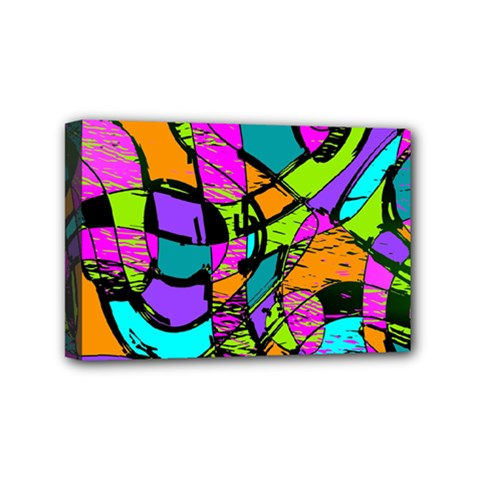 Abstract Sketch Art Squiggly Loops Multicolored Mini Canvas 6  X 4  by EDDArt